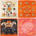 "Luxury Accessories:Accessories, Hermes Set of Four; 90cm Orange & Beige Silk Scarves.Excellent Condition. 36"" Width x 36"" Length. 36"" Width x 36""Length... (Total: 4 Items)"