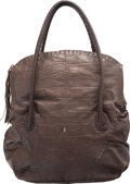 "Luxury Accessories:Bags, Henry Beguelin Gray Alligator Embossed Leather Tote Bag. VeryGood to Excellent Condition. 12"" Width x 14"" Height x6...."