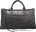 "Luxury Accessories:Bags, Balenciaga Black Distressed Lambskin Leather Work Bag. Very GoodCondition. 18"" Width x 10"" Height x 7.5"" Depth. ..."