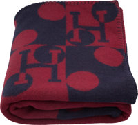 "Hermes Navy & Rouge H Wool and Cashmere Dots Avalon Blanket Pristine Condition 53"" Width x 65"" Length"