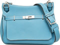 Luxury Accessories:Bags, Hermes 28cm Blue Jean Clemence Leather Jypsiere Bag with Palladium Hardware. N Square, 2010. Very Good Condition. ...