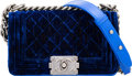 "Luxury Accessories:Bags, Chanel Blue Quilted Velvet Small Boy Bag. ExcellentCondition. 8"" Width x 4.5"" Height x 3"" Depth. ..."