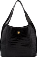 "Luxury Accessories:Bags, Versace Shiny Black Crocodile Tote Bag. Very Good to ExcellentCondition. 13"" Width x 11"" Height x 4"" Depth. ..."