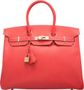 Luxury Accessories:Bags, Hermes Limited Edition Candy Collection 35cm Rose Jaipur & GoldEpsom Leather Birkin Bag with Permabrass Hardware. PSquar...
