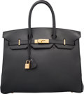 "Luxury Accessories:Bags, Hermes 35cm Black Evercalf Leather Birkin Bag with Gold Hardware.C Square, 1999. Excellent Condition. 14"" Widthx..."
