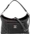 "Luxury Accessories:Bags, Chanel Black Quilted Caviar Leather Shoulder Bag. ExcellentCondition. 13.5"" Width x 9"" Height x 4"" Depth. ..."
