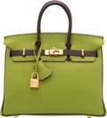 Luxury Accessories:Bags, Hermes Special Order Horseshoe 25cm Vert Anis & Chocolate Togo Leather Birkin Bag with Gold Hardware. M Square, 2009. ...