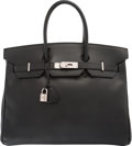 "Luxury Accessories:Bags, Hermes 35cm Black Calf Box Leather Birkin Bag with Palladium Hardware. Very Good Condition. 14"" Width x 10"" Height x 7..."