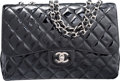 "Luxury Accessories:Bags, Chanel Black Quilted Distressed Patent Leather Jumbo Single FlapBag. Very Good Condition. 12"" Width x 8"" Height x 3""..."
