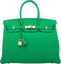 Hermes 35cm Bamboo Togo Leather Birkin Bag with Gold Hardware R Square, 2014 Pristine Condition</