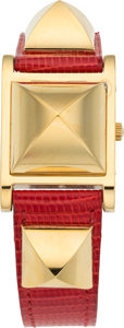 "Luxury Accessories:Accessories, Hermes Gold Medor Watch with Rouge Vif Nilo Lizard Band. Y Circle, 1995. Excellent Condition. 1"" Width x 7"" Length. ..."