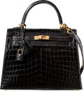 Luxury Accessories:Bags, Hermes 25cm Shiny Black Nilo Crocodile Sellier Kelly Bag with GoldHardware. G Square, 2003. Excellent Condition....