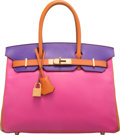 Luxury Accessories:Bags, Hermes Special Order Horseshoe 30cm Rose Tyrien, Crocus & Orange H Epsom Leather Birkin Bag with Brushed Gold Hardware. P ...