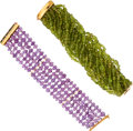 Estate Jewelry:Necklaces, Amethyst, Peridot, Gold Bracelets. ... (Total: 2 Items)