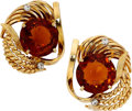 Estate Jewelry:Earrings, Citrine, Diamond, Gold Earrings. ... (Total: 2 Items)