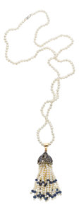 Estate Jewelry:Necklaces, Diamond, Sapphire, Cultured Pearl, Gold, Silver Pendant-Necklace....