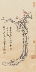 Asian:Chinese, Zhang Daqian (Chinese, 1899-1983). Plum Blossoms, 1972.Hanging scroll, ink and color on paper. 47-3/4 x 18-7/8 inches (...