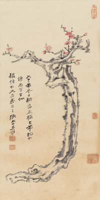 Zhang Daqian (Chinese, 1899-1983) Plum Blossoms, 1972 Hanging scroll, ink and color on paper 47-3