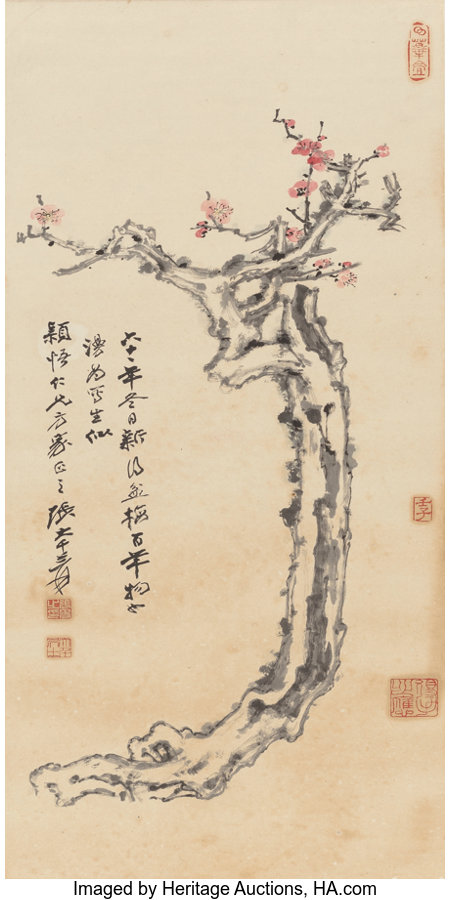 Zhang Daqian (Chinese, 1899-1983) Plum Blossoms, 1972 Hanging scroll, ink and color on paper 47-3/4 x 18-7/8 inches (...