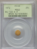 California Fractional Gold , 1872 25C Washington Octagonal 25 Cents, Baker-503, BG-722, Low R.4,MS62 PCGS....