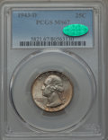 Washington Quarters, 1943-D 25C MS67 PCGS. CAC. PCGS Population: (78/1). NGC Census: (144/1). CDN: $650 Whsle. Bid for problem-free NGC/PCGS MS6...