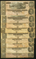 Confederate Notes:1864 Issues, T68 $10 1864. Nine Examples.. ... (Total: 9 notes)