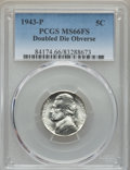 Jefferson Nickels, 1943-P 5C Doubled Die Obverse MS66 Full Steps PCGS. PCGS Population: (18/3). NGC Census: (6/1). ...