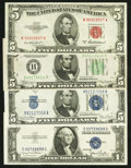Small Size:Group Lots, Red, Blue and Green. Choice About Uncirculated or better.. ... (Total: 4 notes)