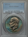 Eisenhower Dollars, 1973-D $1 MS66+ PCGS. PCGS Population: (337/13 and 19/0+). NGC Census: (73/3 and 0/0+). Mintage 2,000,000. ...
