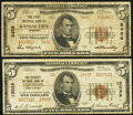 National Bank Notes:Missouri, Kansas City, MO - $5 1929 Ty. 2 The First NB Ch. # 3456;. Trenton,NJ - $5 1929 Ty. 2 The Security NB Ch. #13039... (Total: 2 notes)