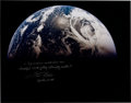 Autographs:Celebrities, Fred Haise Signed Large Apollo 13 Earth Color Photo. ...