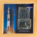 Explorers:Space Exploration, Saturn V Unflown Rocket Flight Spare Parts (Two) from theCollection of NASA Engineer Charles Bell, in Framed Display. ...
