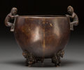 Asian:Chinese, A Chinese Bronze Figural Barrel-Form Tripod Censer, late MingDynasty, 17th century . Marks: Six-character Xuande mark . 4-5...