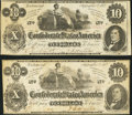 Confederate Notes:1862 Issues, T46 $10 1862. Two Notes.. ... (Total: 2 notes)