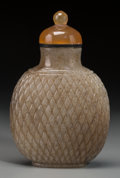 Asian:Chinese, A Chinese Brown Jade Basket Weave Snuff Bottle, QingDynasty, 18th/ 19th century. 3-1/4 inches high (8.3 cm). ...