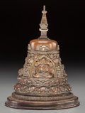 Asian:Chinese, A Fine and Rare Tibetan Copper-Alloy Stupa, Qing Dynasty, 18th-19thcentury. Marks: Incised dorje mark. 6-3/4 inches high (1...