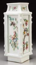 Asian:Chinese, A Chinese Celadon Porcelain Vase with Applied Birds and Flowers,Qing Dynasty. 10-7/8 inches high (27.6 cm). ...