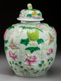 Asian:Chinese, A Chinese Celadon and Polychromed Porcelain Melon Jar, QingDynasty, 19th century. Marks: Impressed Qianlong seal. 10-5/8 in...