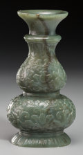 Asian:Chinese, A Fine Chinese Mughal-Style Spinach Jade Double Gourd Vase, QingDynasty, 18th century. 3-7/8 inches high (9.8 cm). The sm...