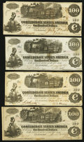 Confederate Notes:1862 Issues, T39 $100 1862. Two Notes;. T40 $100 1862. Two Notes.. ... (Total: 4notes)