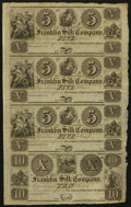 Obsoletes By State:Ohio, Franklin, OH- Franklin Silk Company $5-$5-$5-$10 18__ Uncut Sheet ....