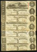 Confederate Notes:1863 Issues, T60 $5 1863. . ... (Total: 6 notes)