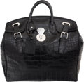 "Luxury Accessories:Bags, Ralph Lauren Matte Black Alligator Ricky Bag. Very Good toExcellent Condition. 18"" Width x 17"" Height x 9"" Depth...."