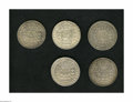 Brazil: , Brazil: Overstruck 960 Reis group as follows: 1814B/1798 PTS 8Reales, cleaned VF-XF with minor obverse scratches; 1814B/1786 Mo 8R... (Total: 5 coins Item)