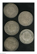 Brazil: , Brazil: Overstruck 960 Reis group as follows: 1820R/Lima 8 Reales, VF-XF; 1820R/Ferdinand VII PTS 8 Reales, AU; 1820R/1818 PTS 8 Rea... (Total: 5 coins Item)