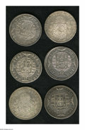 Brazil: , Brazil: Overstruck 960 Reis including: 1820B/1808 Seville 8 Reales,VF with edge cuts; 1820B/Ferdinand VII Lima 8 Reales, VF-XF; 182...(Total: 6 coins Item)
