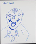 "Miscellaneous Collectibles:General, Kamala ""The Uganda Giant"" Wrestling Legend Signed Original SketchArt. ..."