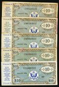 Military Payment Certificates:Series 472, Series 472 $10 Five Examples Very Good-Fine or Better.. ... (Total: 5 notes)
