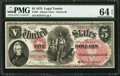 Large Size:Legal Tender Notes, Fr. 67 $5 1875 Legal Tender PMG Choice Uncirculated 64 EPQ.. ...