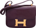 """Luxury Accessories:Bags, Hermes 23cm Aubergine Calf Box Leather Constance Bag with Gold Hardware. A Circle, 1971. Very Good Condition. 9"""" W..."""